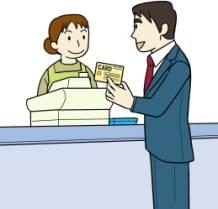 レジでクレジットカードを使う