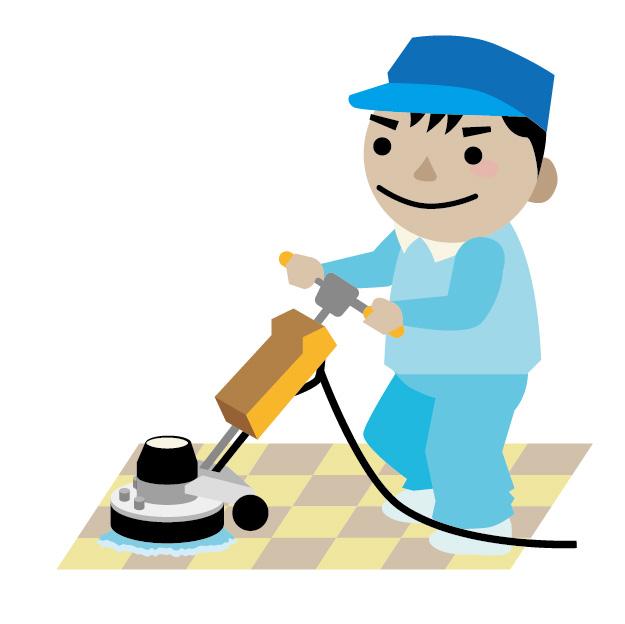 清掃のアルバイトをする男性