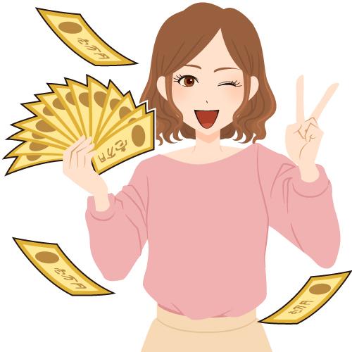 宝くじに高額当選して喜ぶ女性